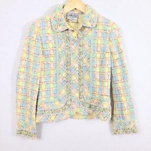 Carlisle Pastel Boucle Tweed Plaid Snap Blazer